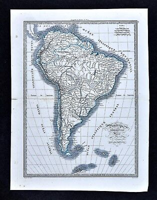 1839 Monin Map - South America - Brazil Argentina Peru Colombia Chile Rio SA