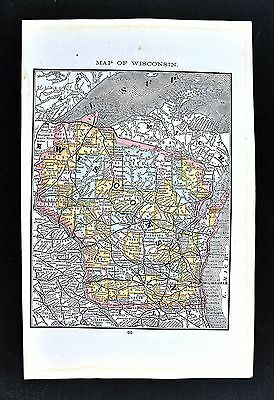 1884 Rand McNally Map - Wisconsin - Madison Milwaukee Green Bay Apostle Islands