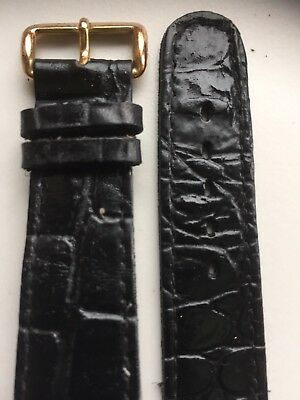 Vintage Genuine Leather Black Open Ended Wristwatch Strap New Old Stock 20mm