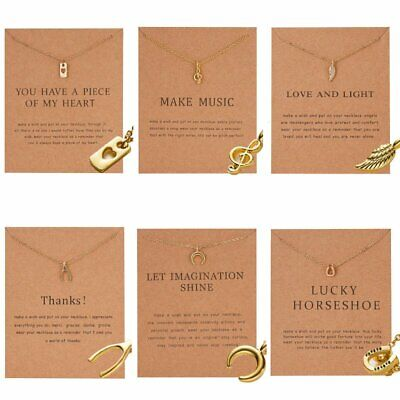 Women Charms Necklace Moon Pendant Gold Clavicle Chains Choker Card Jewelry Gift