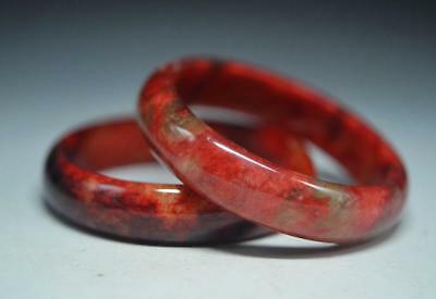 Classic Style Good Quality Chinese Old Red Jade Hand Carved Bracelet -58mm