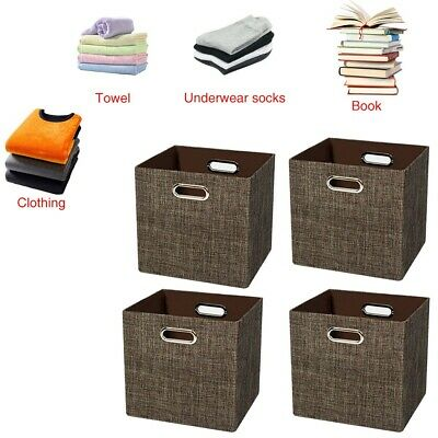 6 Pack Home Storage Bins Organizer Fabric Boxes Basket Drawer Container w/Handle