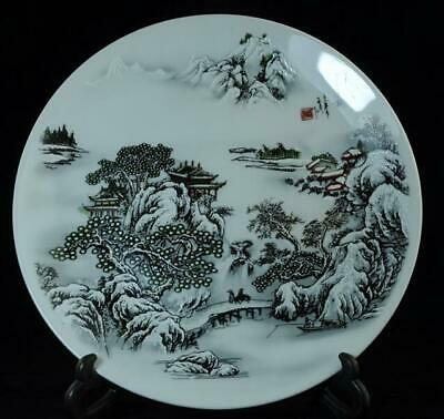Collection hand-made famille rose porcelain hand painted snow  scene plate