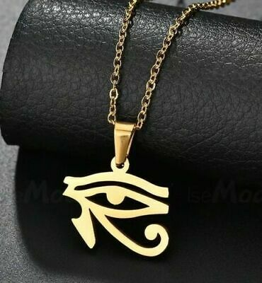 Gold Stainless Steel Egyptian Eye of Horus Pendant Ra Amulet 50cm Chain Necklace