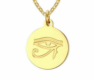 24k Gold Plated Egyptian Eye of Horus Pendant Ra Amulet 50cm Chain Necklace