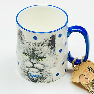 Mr. Cat in Suit Bella 16oz Coffee Tea Cup Mug Pet Lovers 10 Strawberry Street