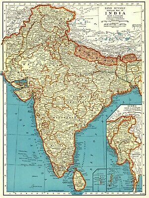 1943 VINTAGE MAP India Burma Nepal Punjab Kashmir Hyderabad