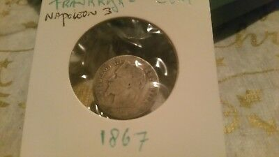 France 1867 silver 1 Cent Napoleon III coin.