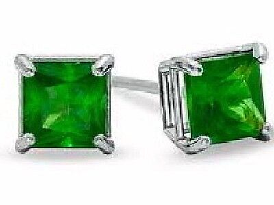 1 ct. Emerald Princess cut Stud Earrings in Solid Sterling Silver ~ Gift box