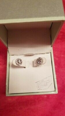 Kiera Couture 925 Silver Stud Earrings With Swarovski Zirconia New In Box
