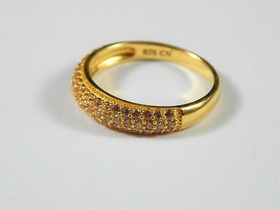 Details about  /Attractive Solid Sterling Silver Gold Wash CZ Ring Size 8.25 Marked 925 CN FZN