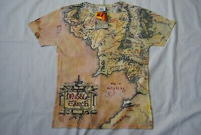 The Lord Of The Rings Middle Earth Map T Shirt New Official Movie Film Tolkien