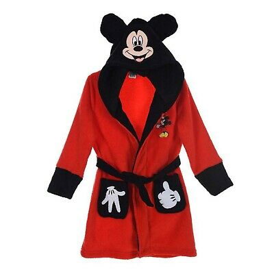 Kids Dressing Hooded Gown Age 5-6 Years With Mickey Mouse Red Fleece From Disney