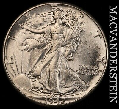 1942 Walking Liberty Half Dollar- Choice Gem Brilliant Uncirculated !! #f2508