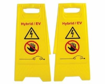 ELECTRIC VEHICLE ELECTRICAL Hybrid Floor Warning HAZARD Signs 2pc 600mm