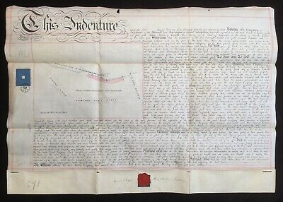 Warwick & Birmingham Canal 1878 Vellum Indenture for Land at Sparkbrook