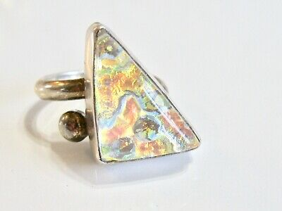 Wild Vintage Modernist Sterling Silver 925 Triangle Iridescent Art Glass Ring