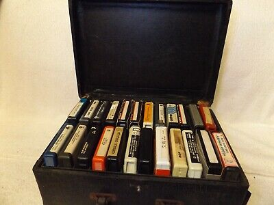 Vintage 8 Track Tapes--24 Assorted Tapes In Carrying Case--Various Artists
