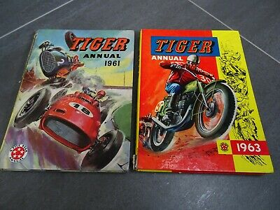 2 x Vintage Tiger Annuals - 1961 and 1963 years - Price Unclipped - VERY RARE