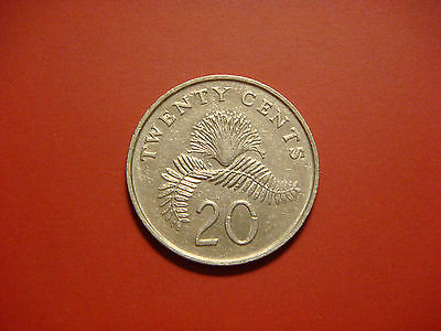 Singapore 20 Cents, 1986 Coin. Powder Puff Plant