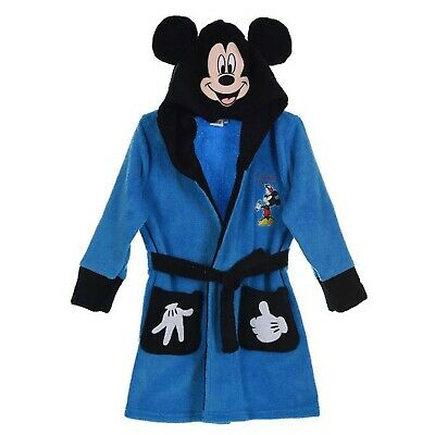 Kids Dressing Hooded Gown Mickey Mouse Blue Fleece Age 7-8 Years From Disney