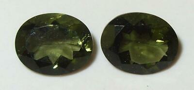 4.03ct Pair Faceted TOP QUALITY Natural Czechoslovakia Moldavite Oval Cut 10x8mm