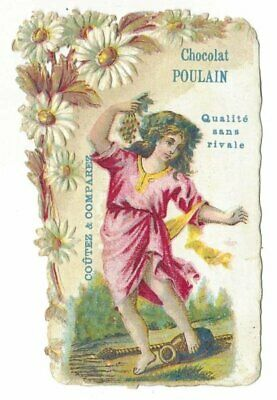 Antique French Victorian Trade Card, Chocolat Poulain, in relief (3)