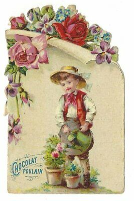Antique French Victorian Trade Card, Chocolat Poulain, in relief (2)