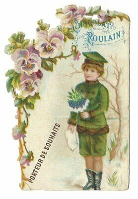 Antique French Victorian Trade Card, Chocolat Poulain, in relief, wish bearer