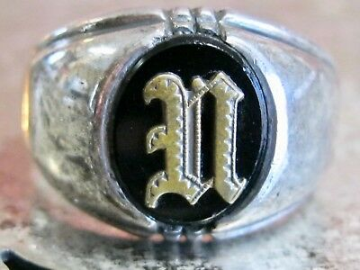 Antique Art Deco Mans Mens Sterling Silver 925 Initial N Ring Clark & Coombs 10