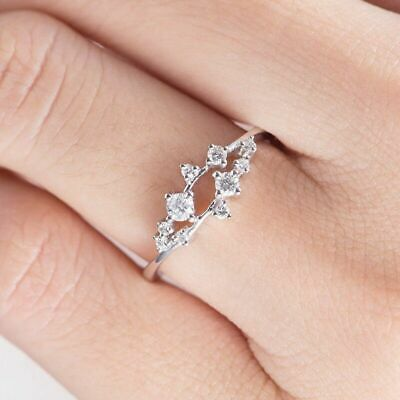 Fashion Women's 14K Gold Cubic Zirconia Stackable Eternity Cluster Rings Gift