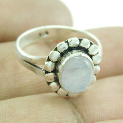 Real Rainbow moonstone 925 sterling silver plated Ring US - 7