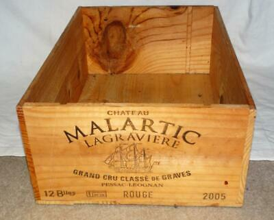 French Wood Advertising Chateau Malartic 12 Bottle Wine Crate / Box,collectible.