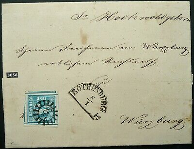 BAVARIA BAYERN 1854 POSTAL ENTIRE WITH 3 Kr BLUE STAMP TO WURZBURG - SEE!