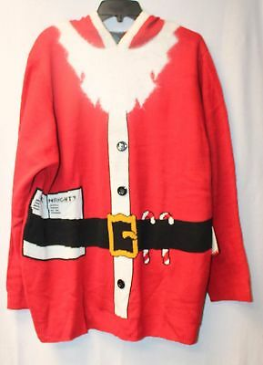 New Womens Plus Size 3X Red Christmas Hooded Santa Claus Tunic Sweater With List