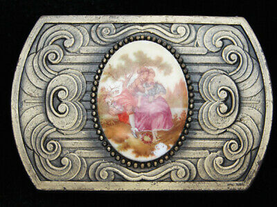 QI05107 VINTAGE 1970s **MAN & WOMAN IN GARDEN** RENAISSANCE ART BELT BUCKLE