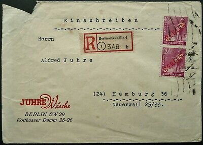 WEST BERLIN 1949 REGISTERED POSTAL COVER WITH 40 pfg STAMP PAIR TO HAMBURG