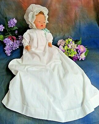 ANTIQUE original VICTORIAN Christening Gown LONG baby DOLL DRESS  embroidery 20""