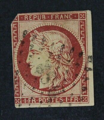 CKStamps: France Stamps Collection Scott#9c Used Tiny Thin Tiny Tear Off