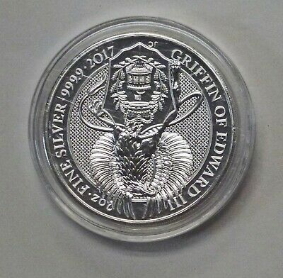 2017 Queen's Beast the Griffin of Edward 2 oz .9999 silver coin 5 pound