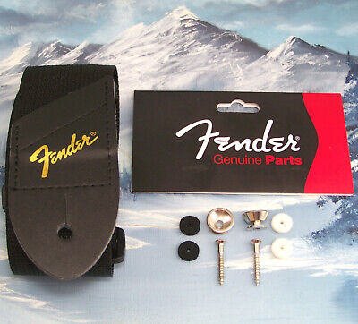 Genuine Fender ~ Gold Logo Guitar Strap + Strap Buttons