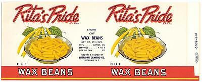 Wholesale Dealer's Lot 100 Rita's Pride Wax Beans Can Label Sheridan, New York