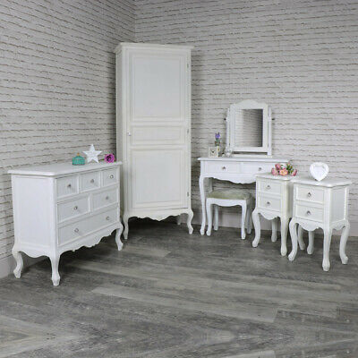 Blanc Meuble Chambre à Coucher Garde Robe Coiffeuse Chevet Tables Commode