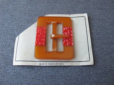 Antique Czech flapper red inlaid applejuice galalith belt buckle unused #3