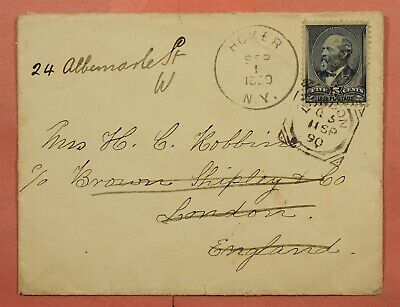 5C #216 On 1890 Homer Ny To England Forwarded To Portugal