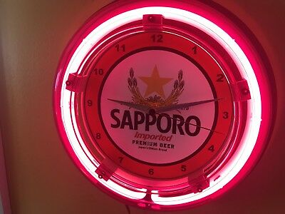 Sapporo Japanese Beer Bar Advertising Man Cave Neon Wall Clock Sign