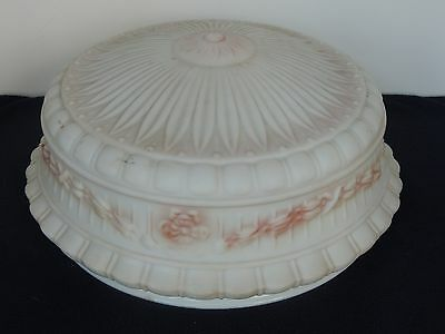 "Antique ceiling fixture Lamp glass globe shade 13.75"" Fitter opening Pink Rose"