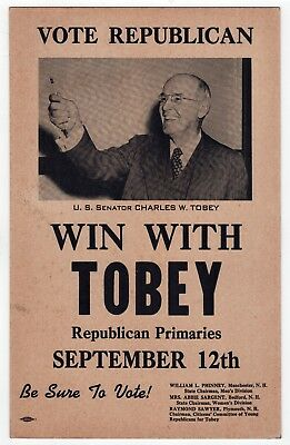 NEW HAMPSHIRE Political Poster CHARLES TOBEY US SENATE Senator NH Republican GOP