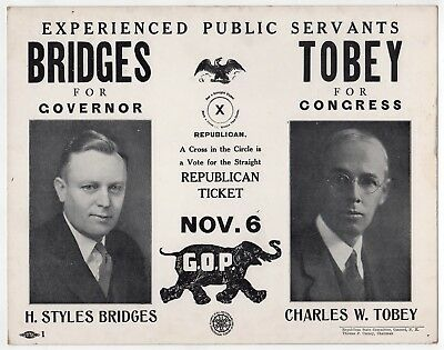 NEW HAMPSHIRE Political Poster CHARLES TOBEY Congress STYLES BRIDGES Governor NH
