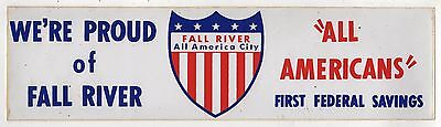 1970s FALL RIVER MASSACHUSETTS All American City VINTAGE Bumper Sticker MASS MA